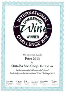 Challenge 2018 silver medal for the Patre wine