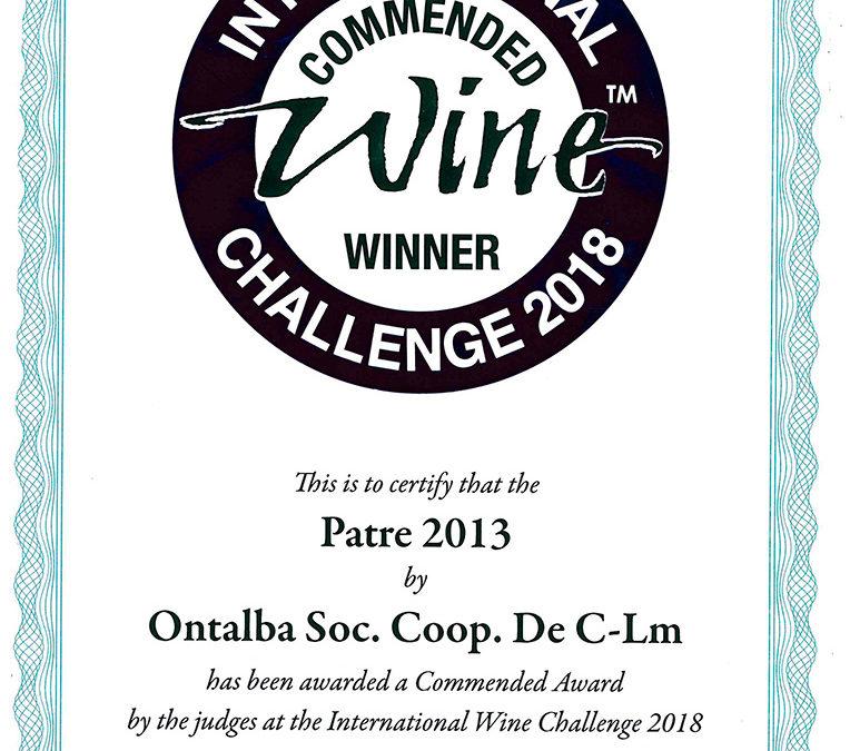 Challenge 2018 medalla de plata para el vino Patre